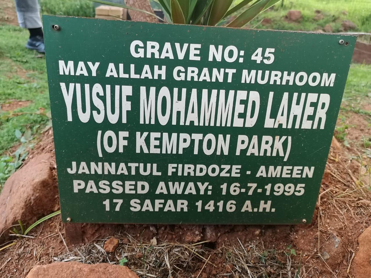 "Yusuf ""Boundary"" Essop BhaI Laher Kempton Park"