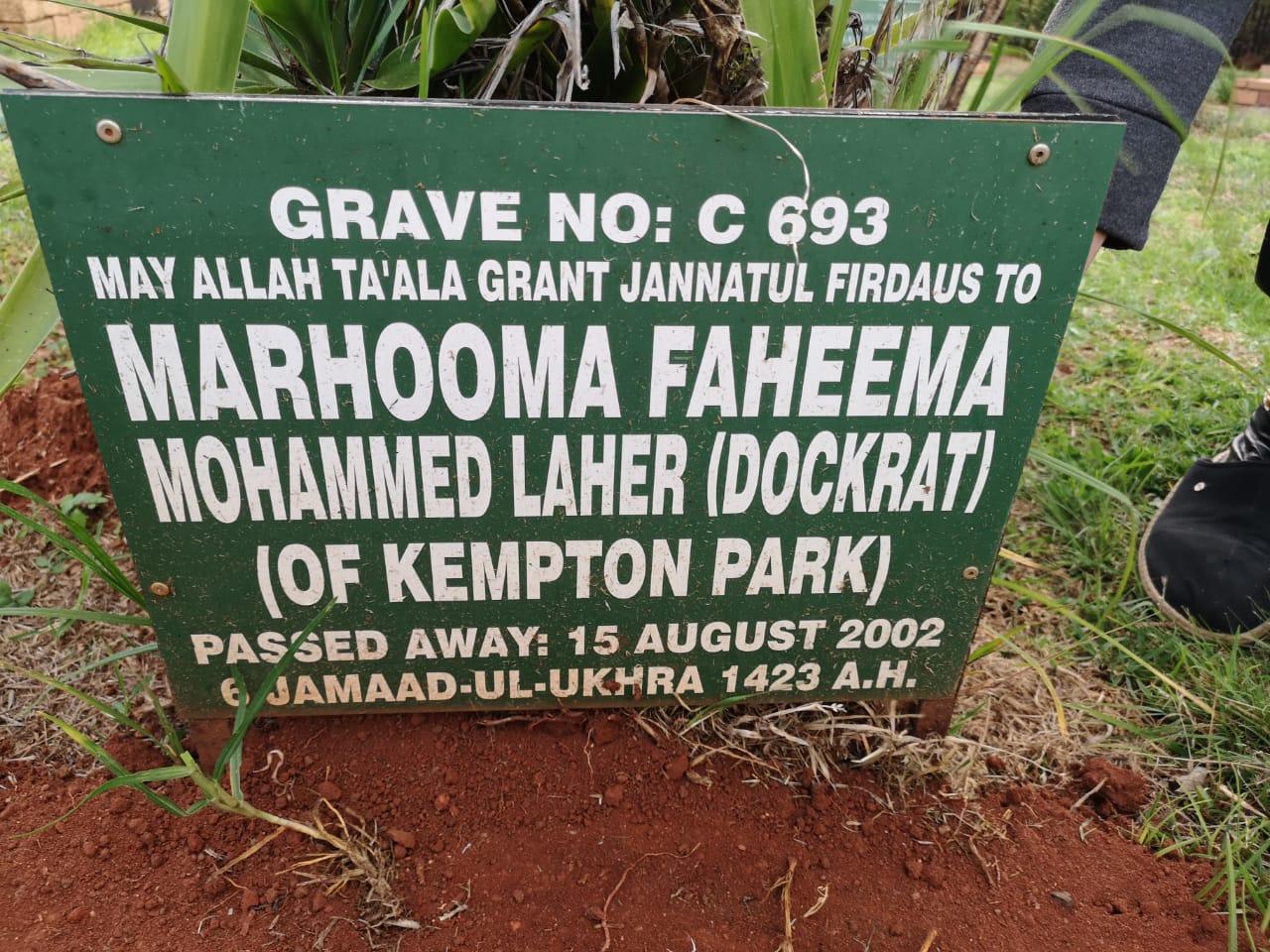 Faheema Mohammed Laher (Dockrat) Kempton Park 15 Aug 2002